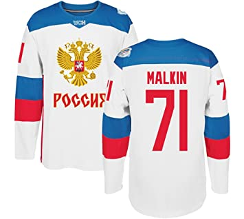 new arrival 904d9 6380b Russia Hockey #71 Malkin Jersey Men's 2016 World Cup of ...