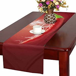 InterestPrint Funny Food Hot Chili Pepper in Smoke Table Runner Cotton Linen Cloth Placemat Home Decor for Home Kitchen Dining Wedding Party 16 x 72 Inches