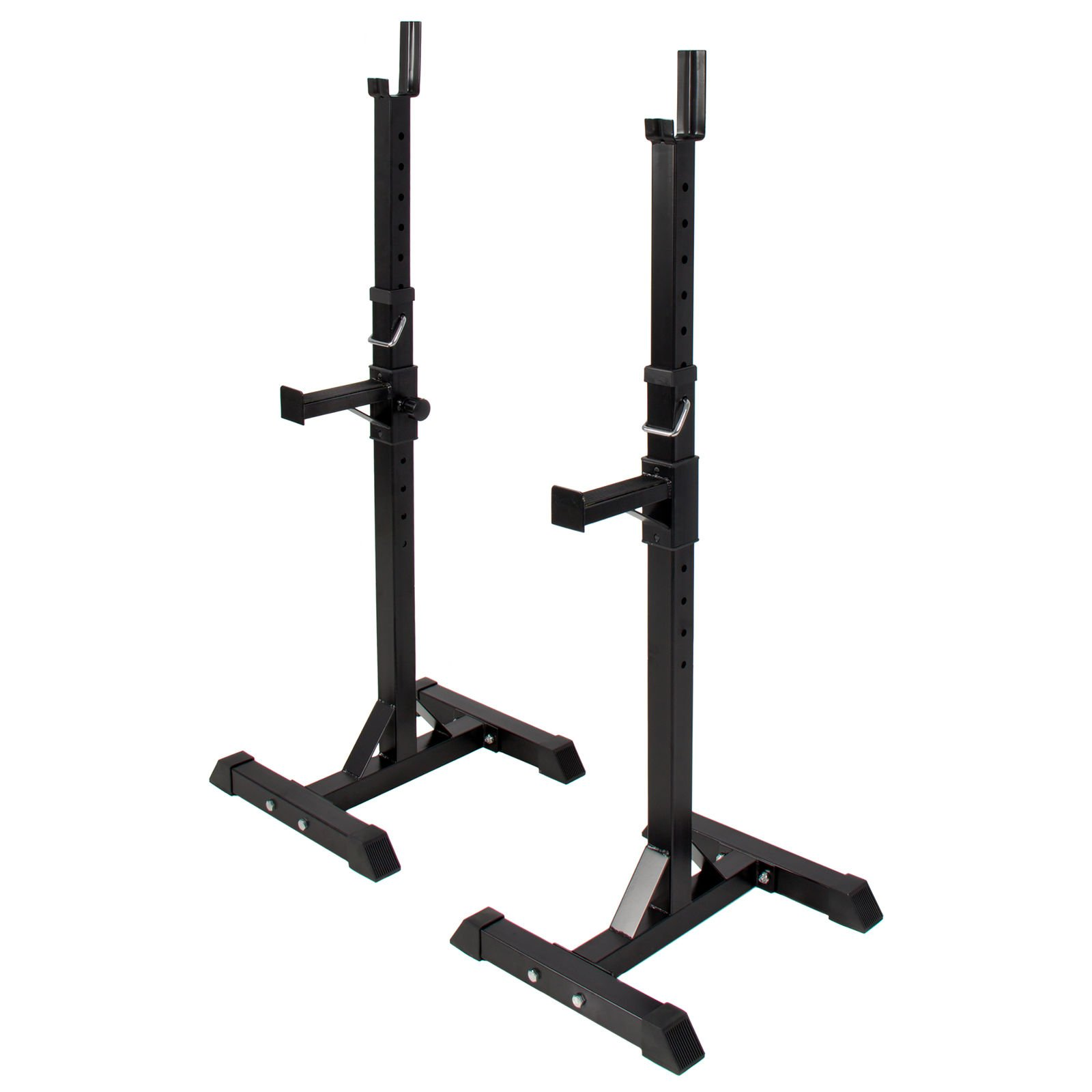 Pair of Adjustable Standard Solid Steel Squat Stands Barbell Free Bench Press