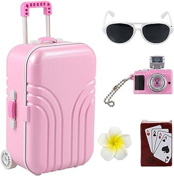 Amazon.com: Barwa Set de viaje maleta rosa y cámara con ...