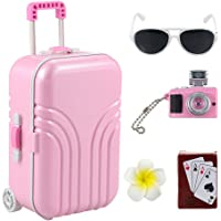 Barwa 18 inch Doll Travel Set Suitcase Pink Suitcase and Camera with Flower Hair Clip and Play Card Compatible for…