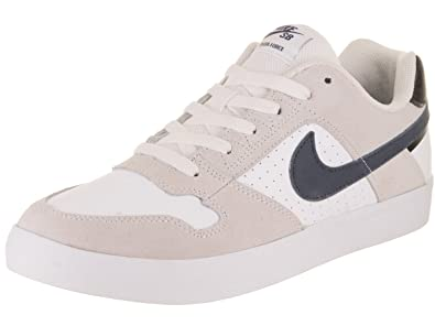 NIKE Men's SB Delta Force Vulc White/Thunder Blue/Black Skate Shoe 10.5 Men
