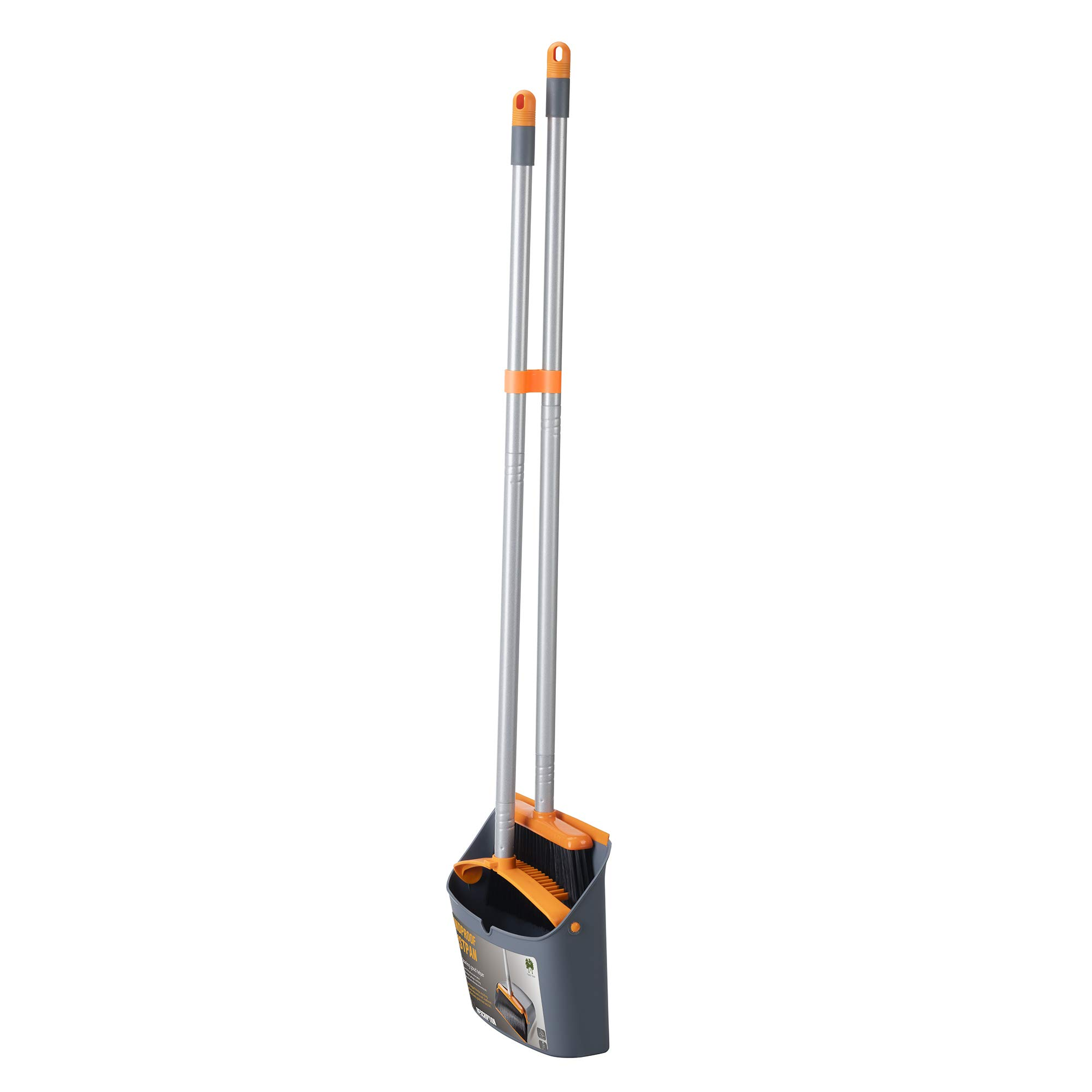 TooToo Broom and Dustpan Set, Sweep Set, Upright Broom and Dustpan Combo with 40''/54'' Long Extendable Handle for Household Cleaning Sweeping, Orange and Dark Grey by TooToo (Image #3)