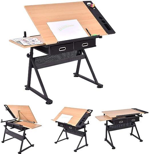 Mesa de dibujo y taburete | con doble superficie y 2 cajones ...