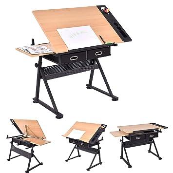 Mesa de dibujo y taburete | con doble superficie y 2 cajones grandes, para Bellas