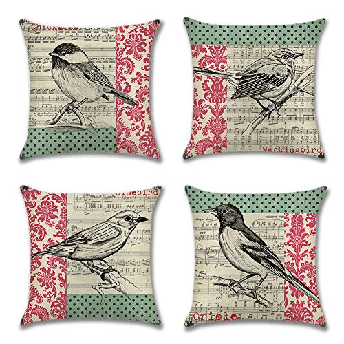 Artscope Throw Pillow Covers Cotton Linen Cushion Covers Living Room Decorative Pillow Cover for Sofa Car Home Decor 18 x 18 Inches, Set of 4 (Sheet Music Bird)