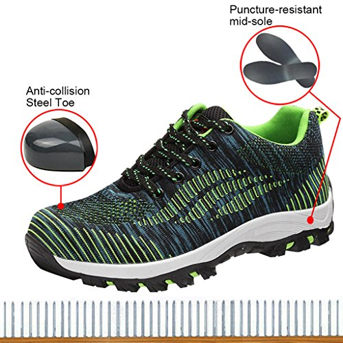 Optimal Product Women's Safety Shoes Work Shoes Protect Toe Shoes Bright Green by Optimal Product (Image #2)