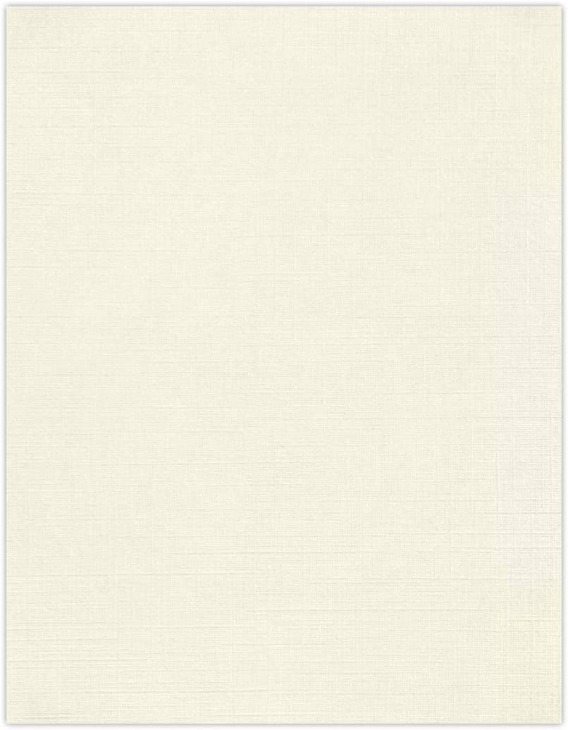 "LUXPaper 8.5"" x 11"" Paper for Crafts and Printing in Natural Linen, Scrapbook and Office Supplies, 50 Pack (Natural White)"