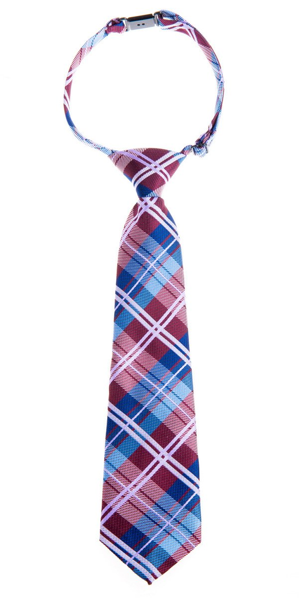Retreez Elegant Tartan Check Woven Microfiber Pre-tied Boy's Tie - Burgundy and Blue - 24 months - 4 years