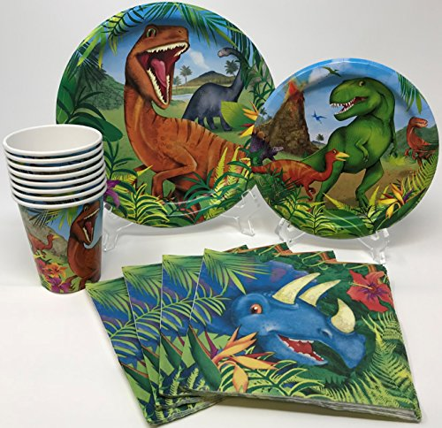 Dinosaur Birthday Party Supplies Pack for 8 Guests Including Lunch Plates, Dessert Plates, Lunch Napkins, Cups