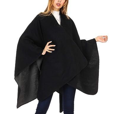 693dc77eee DoFiyeng Women Poncho Shawl Poncho Cape Cardigan Open Front Elegant Cape  Wrap Shawl Wrap(Black