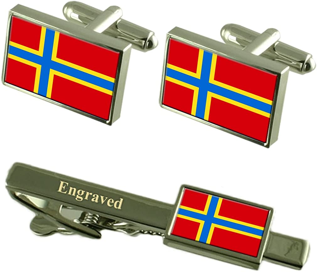 Select Gifts Orkney County England Flag Cufflinks Engraved Tie Clip Set