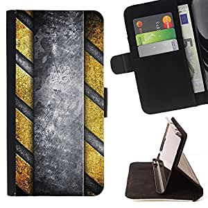 DEVIL CASE - FOR Samsung Galaxy S5 V SM-G900 - Danger Stripes Metal Pattern - Style PU Leather Case Wallet Flip Stand Flap Closure Cover