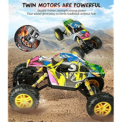 DOUBLE E RC Cars 1:18 Dual Motors Rechargeable Remote Control Truck 4WD Off Road RC Truck Rock Crawler: Toys & Games