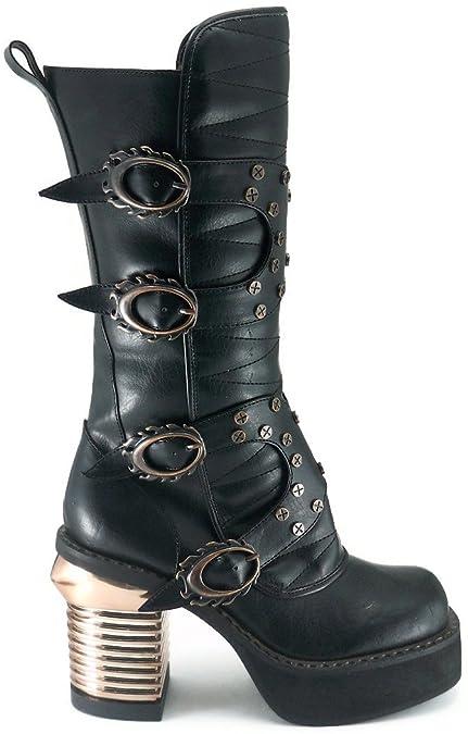 Chaussures Noir pour Femme Hades Cosplay Bottes Steampunk TkZOPXiu