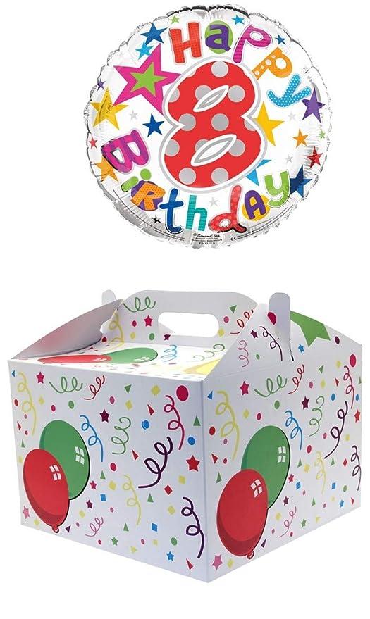 Globo de helio redondo de 45,72 cm con 8 cumpleaños en caja ...