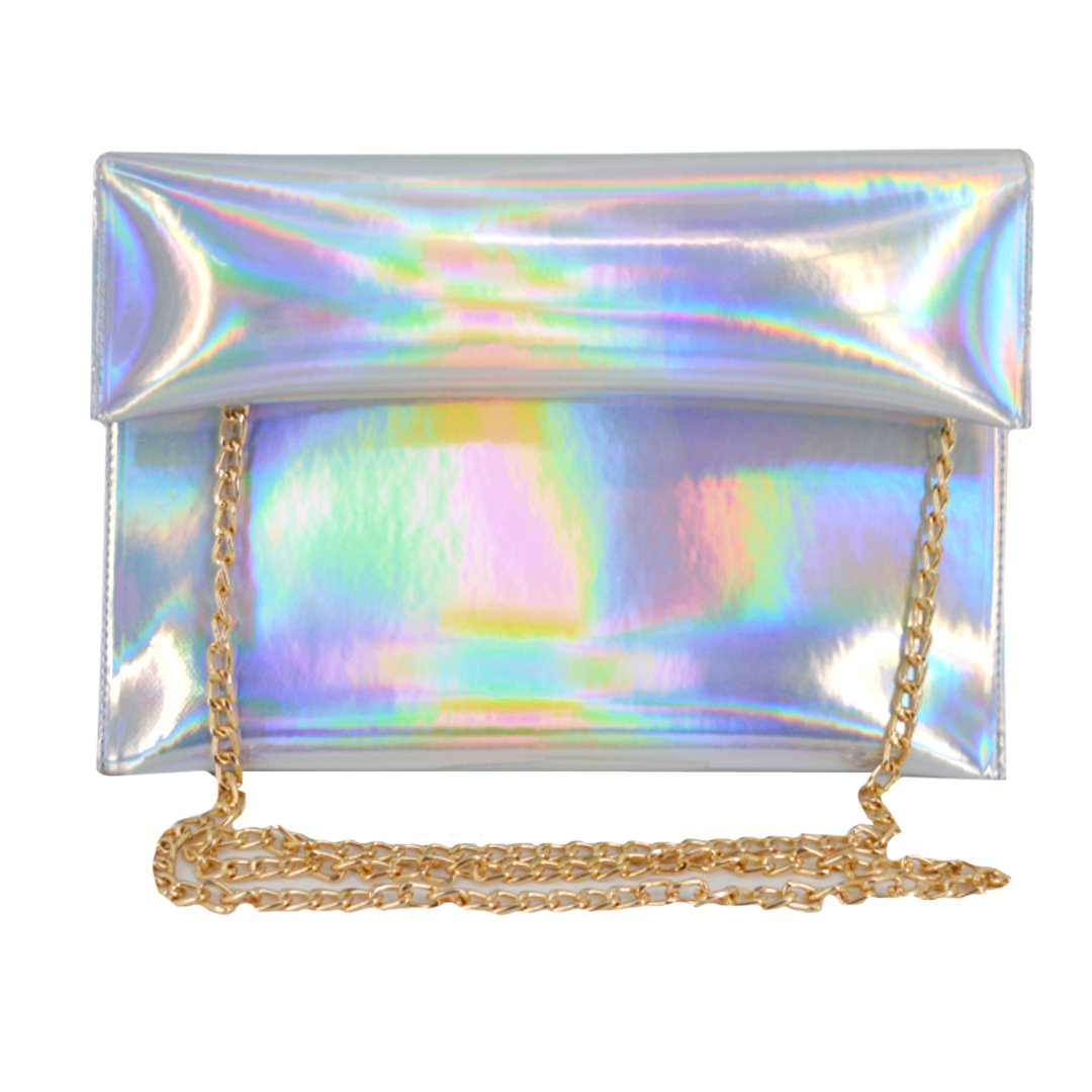 Monique Women Colorful Holographic Clutch Handbag Purse Envelope Bag for Shopping Evening Party Travel Silver