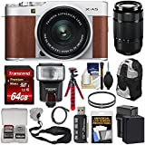 Fujifilm X-A5 Wi-Fi Digital Camera & 15-45mm XC Lens (Brown) with 50-230mm Lens + 64GB Card + Battery & Charger + Backpack + Tripod + Flash + Kit