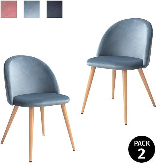 Mc Haus SOFI - Pack 2 Sillas Comedor Tapizadas de terciopleo Azul ...