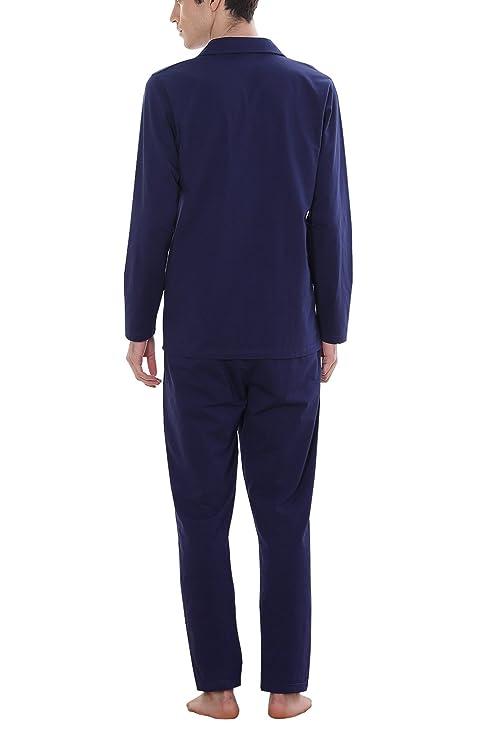Dolamen Pijamas para Hombre, Pijamas Hombre invierno, Hombre camisones Pijamas de parejas, 100% Algodón suave y cálido Manga larga y pantalones largos: ...