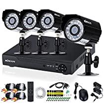 KKmoon Home Security Surveillace DVR Kit 4CH 720P CCTV DVR Security System P2P Cloud Onvif DVR+ 4pcs 720P Outdoor Bullet Camera + 4pcs 60ft Cable support Weatherproof Plug and Play Motion Detection
