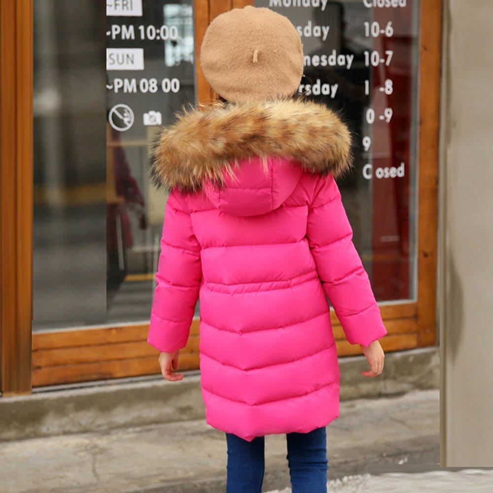Evelin LEE Unisex Kids Baby Boys Girls Winter Hooded Fur Down Parka Coat