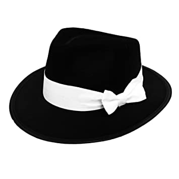 3cf37801572 6 X GANGSTER HAT BLACK FELT WITH WHTIE BAND FANCY DRESS COSTUME ACCESSORY  BULK GANGSTER TRILBY FEDORA 1920 S UNISEX MENS   WOMENS  Amazon.co.uk  Toys    ...