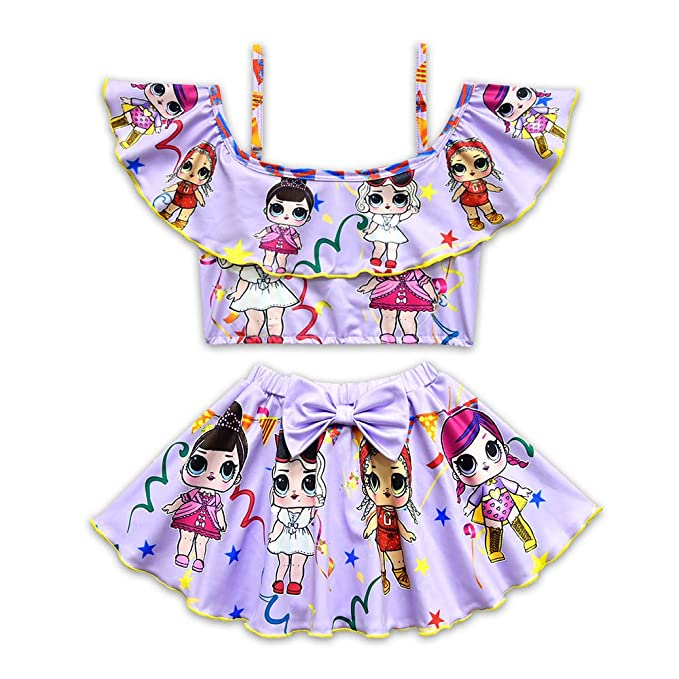 8355d46de Amazon.com  Rohero Toddler Baby Girls Swimsuits Two Piece Doll Print ...