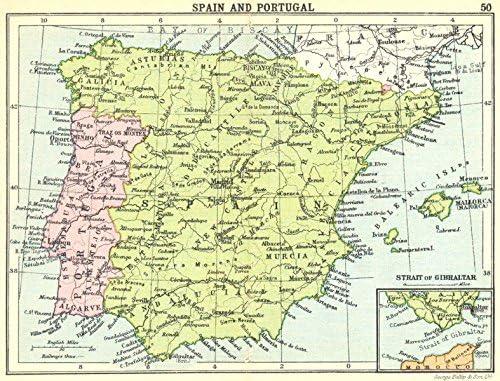 España: España y Portugal; Mapa empotrado de estrecho de Gibraltar; Pequeño mapa, 1912: Amazon.es: Hogar
