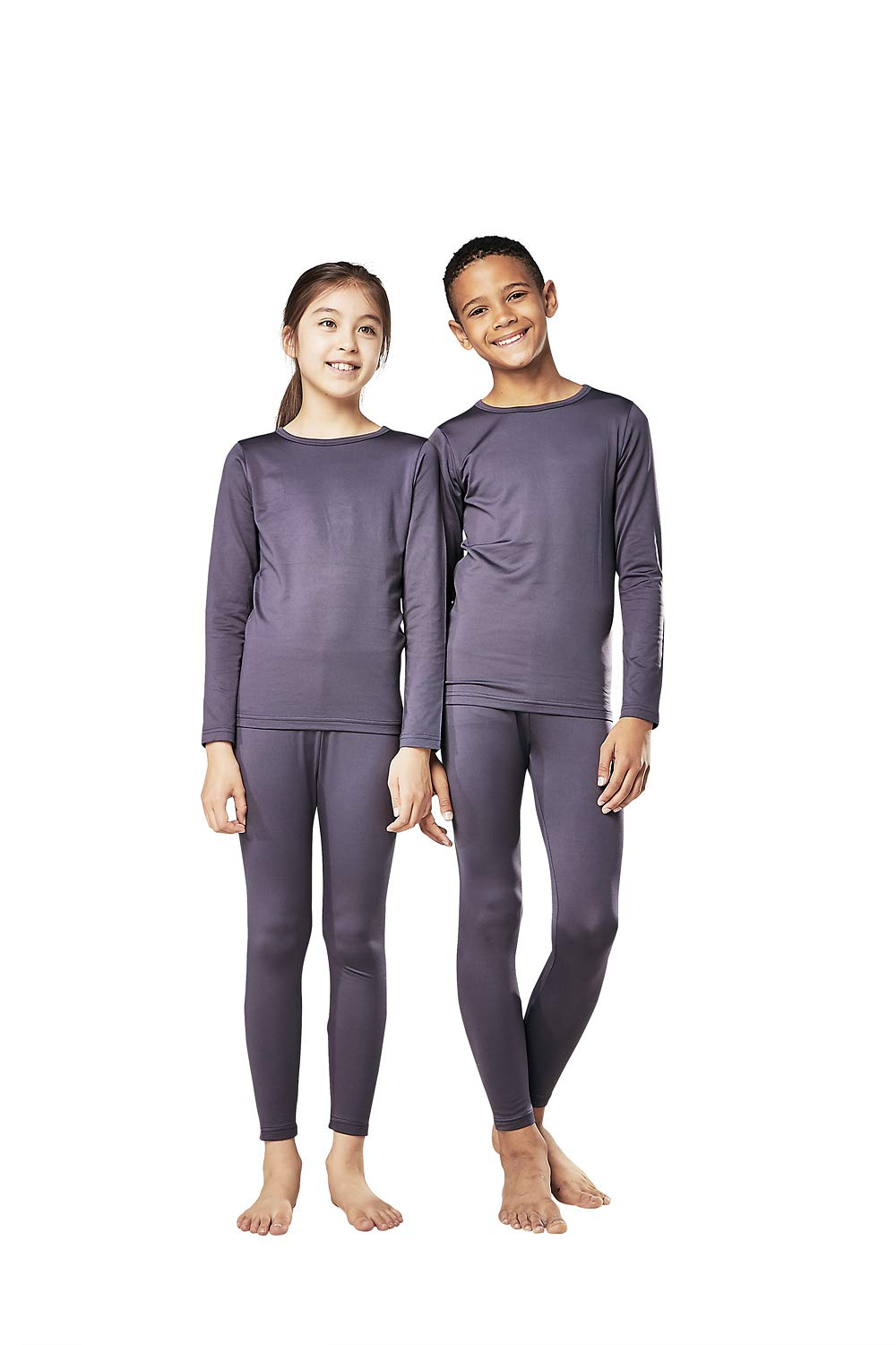 DEVOPS Boys & Girls Thermal Heat-Chain Microfiber Fleece Underwear Baselayer Top & Bottom (Long Johns) Set (Large, Charcoal) by DEVOPS