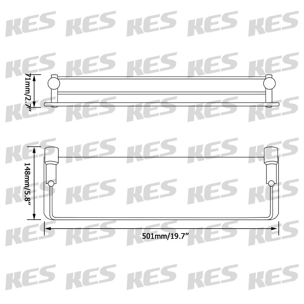 SUS 304 Acciaio INOX Spazzolata A21120A-2 KES Mensola In Vetro Bagno Montaggio a Parete