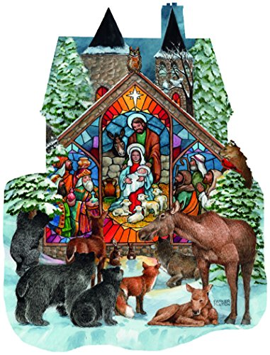 Forest Nativity a 1000 Piece Shaped Jigsaw Puzzle By Sunsout