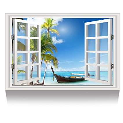 Amazon.com: Kreative Arts - Canvas Print Wall Art Window Frame Style ...