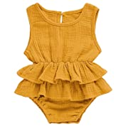 Ritatte Newborn Baby Girl Romper Bodysuits Cotton Flutter Sleeve One-Piece Romper Outfits Clothes (Yellow, 0-6 Months(70))