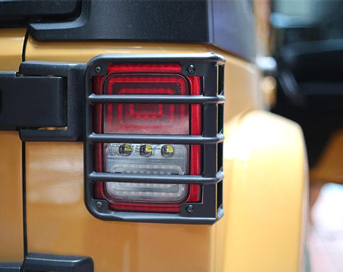 Iparts Black Rear Euro Tail Light Guard for Jeep Wrangler JK JKU Unlimited Rubicon Sahara X Off Road Sport Exterior Accessories Parts 2007 2008 2009 2010 2011 2012 2013 2014 2015 2016 2017 PartsSupplier