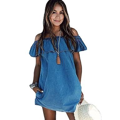 120fc7e620 Anna Judy Women s Sexy Off Shoulder Ruffle Denim Summer Dress Ladies Party  Beach Vintage Mini Dresses (