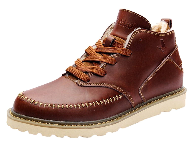 Insun Men's Laces Fleece Lining Leather Boots