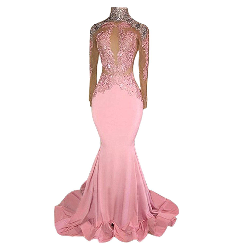 BridalAffair Women\'s Pink High Neck Mermaid Prom Dress Exposed Waist ...