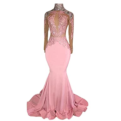 BridalAffair Womens Pink High Neck Mermaid Prom Dress Exposed Waist Sexy Long Sleeve Applique Evening Gowns
