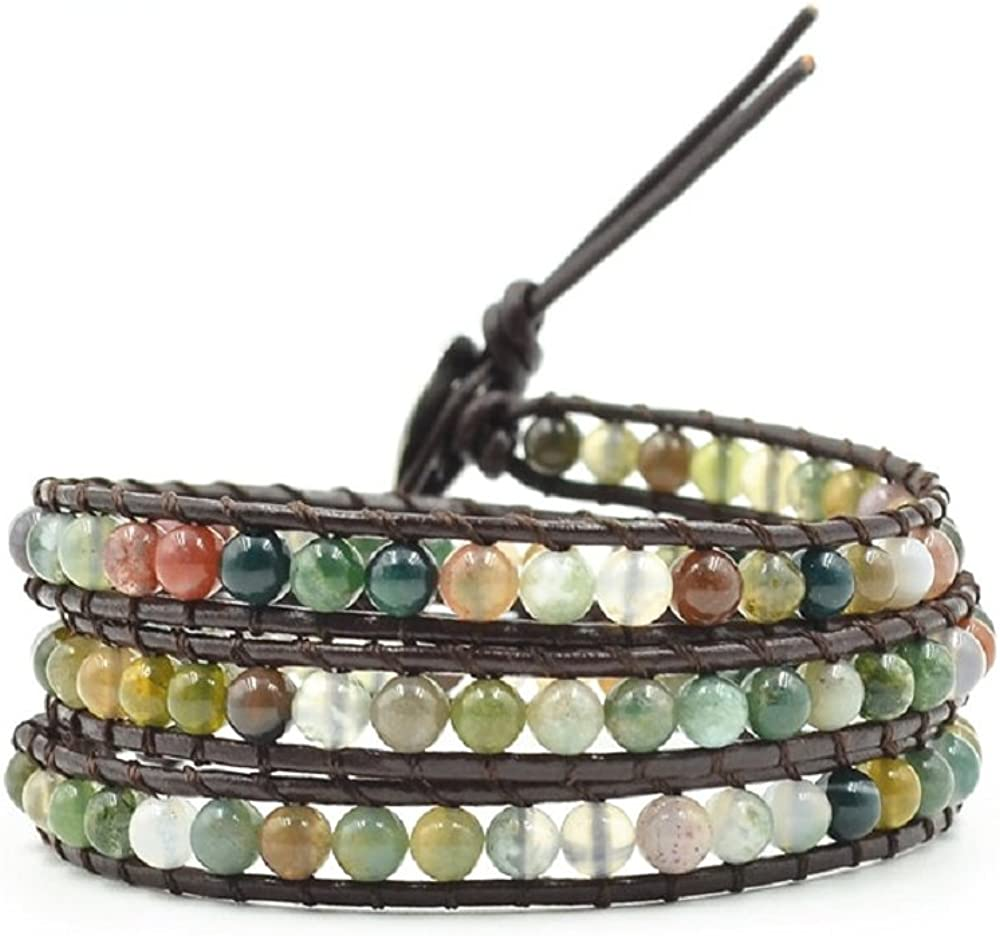 xinpeng Handmade Alloy Leather Natural Stone Bead Statement Bracelet Bangle Cuff Rope 3 Wrap Adjustable Jewelry Collection