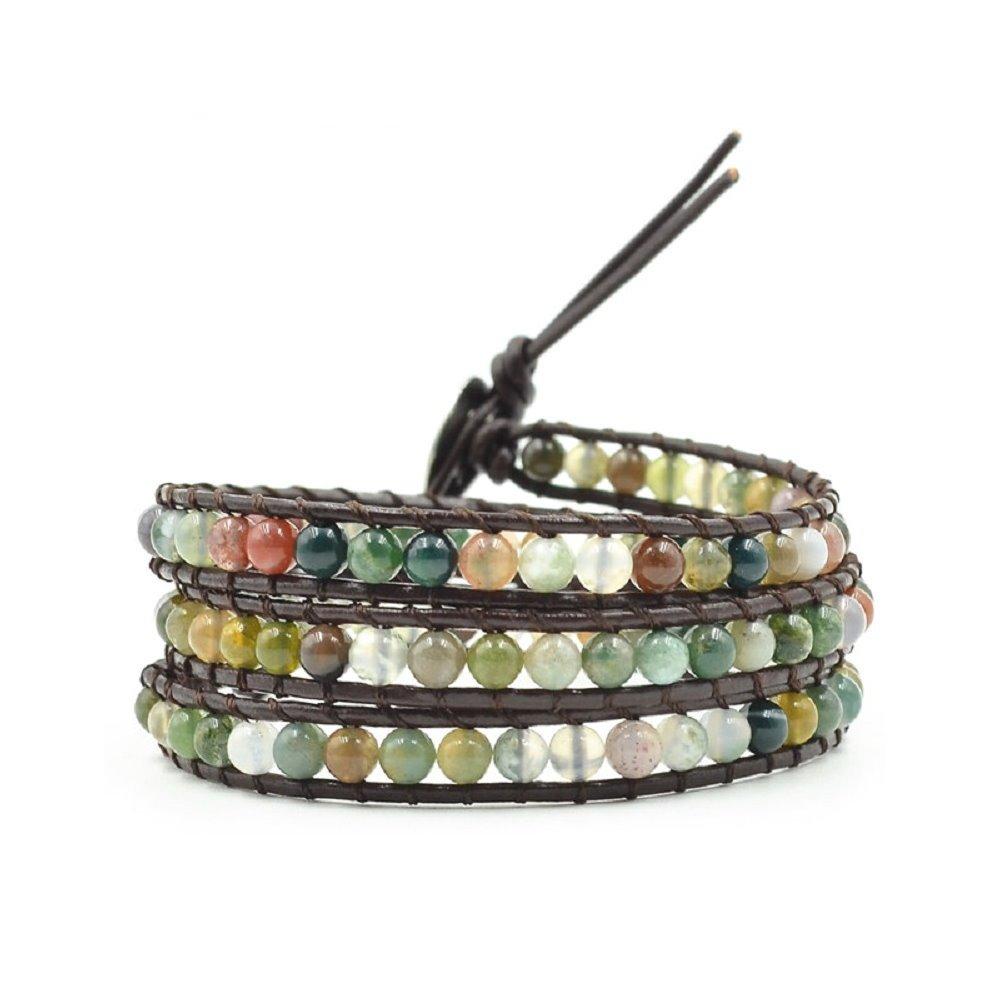 Genuine Leather Wrap Bracelets For Women Girls Adjustable Bead Bracelet Cuff (3 Wrap India Agate)