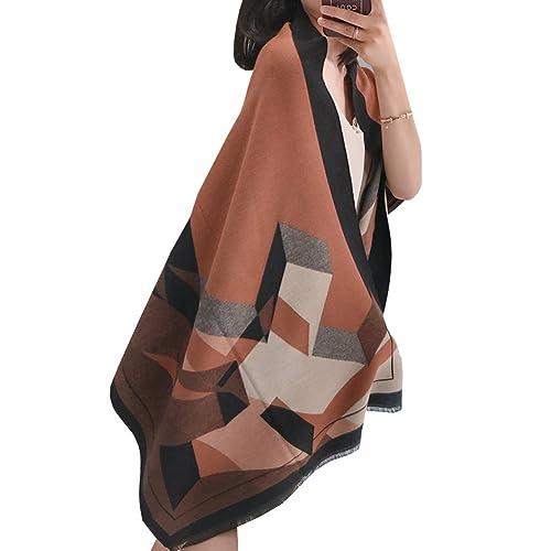 M&A Mujer Bufanda Invierno Doble Cara Otoño Primavera Chal Mantón Mohair Lana Borla Geométrico Multicolor Caui marrón