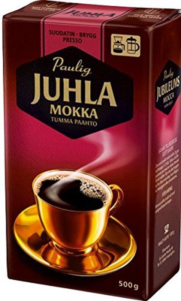 Paulig Juhla Mokka - Dark Roast - Fine Grind - Filter Blend Ground Coffee - Bag 500g (Finland) (8 Bags (Save 30%))