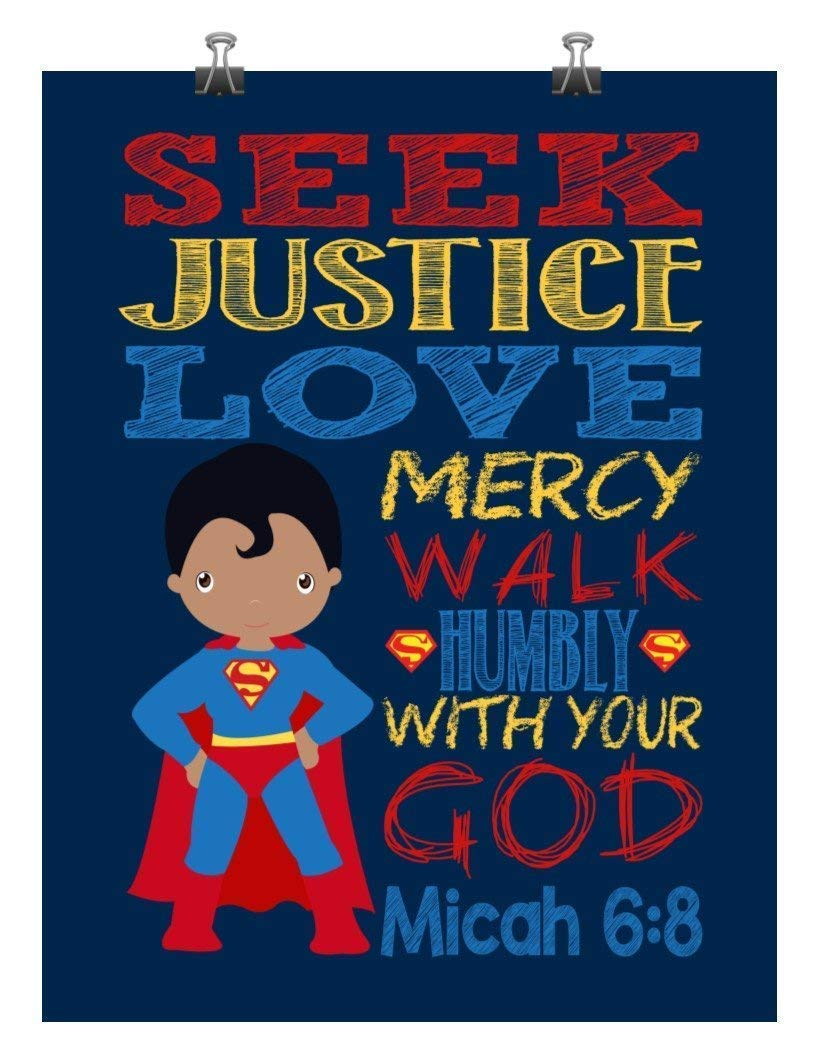 Seek Justice Love Mercy African American Superman Superhero Inspirational Nursery Decor Print