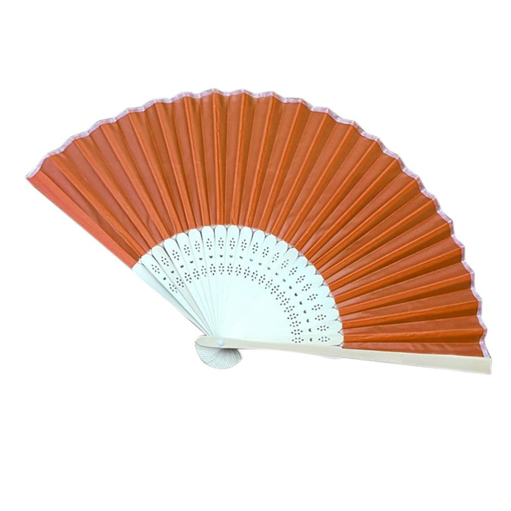 Sonmer Chinese Style Hand Held Fan, Bamboo Silk Folding Fan, for Party Wedding Decor (Orange)