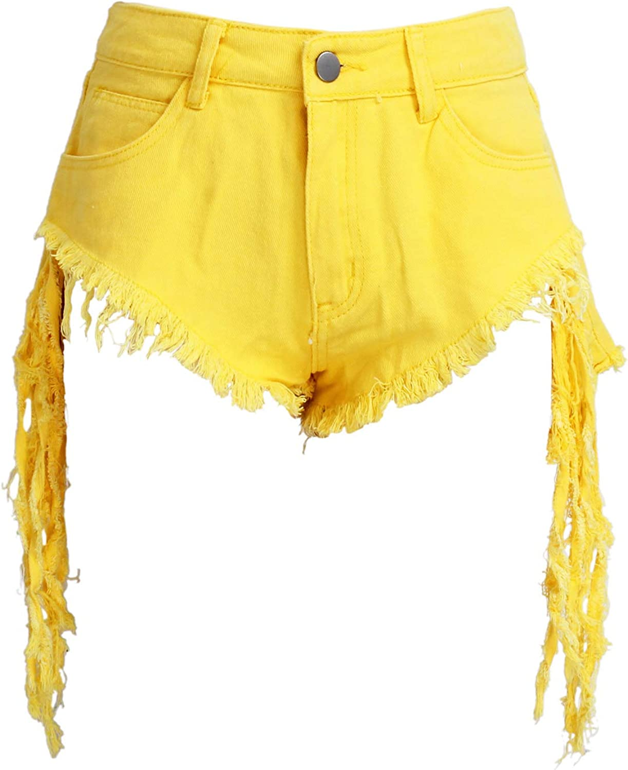 Frayed Raw Hemline Ripped Tassels Jeans Short Pants Club Wear ZFCGEE High Waisted Denim Shorts for Women