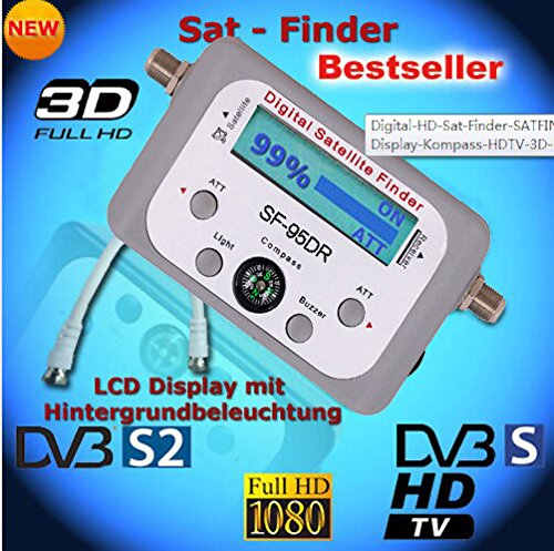 (SaferCCTV(TM) SF-95DR LCD HD Digital Satellite Signal Meter Finder DISHNetwork DirecTV FTA Compass Automatically Recognizes the LNBF Frequency and Works with Any C Band, Ku Band, or Ka Band Satellite)