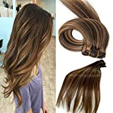 Human Hair Extensions 18 Inch Clip in Hair Extensions 7A Grade Silky Long Hair Pieces for Women, 7 Pcs Per Set, #4/27