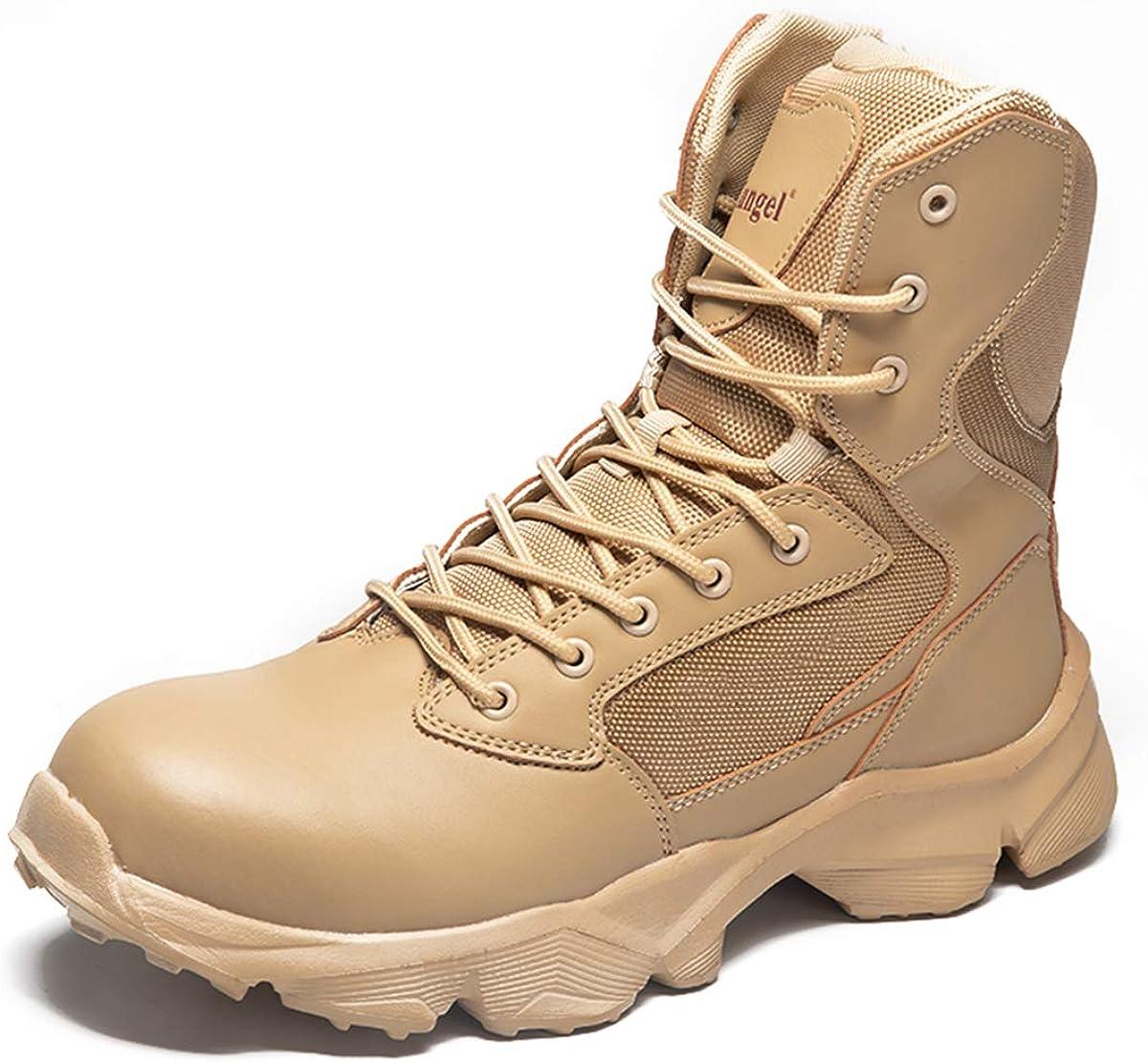 Botas Militares para Hombres con Puntera de Acero anticolisi/ón Botas de Combate Resistentes al Desgaste Botas t/ácticas antipinchazos