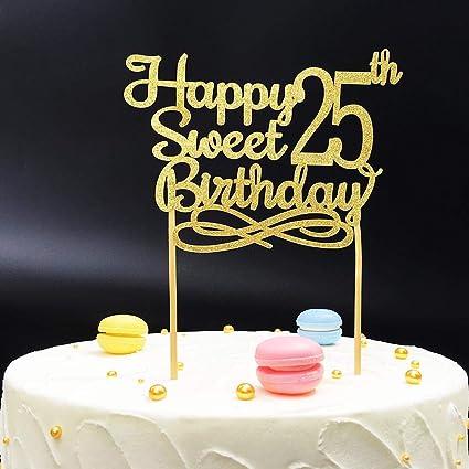 Prime Gold Happy Sweet 25Th Birthday Cake Topper Gold Paper Cake Topper Funny Birthday Cards Online Necthendildamsfinfo